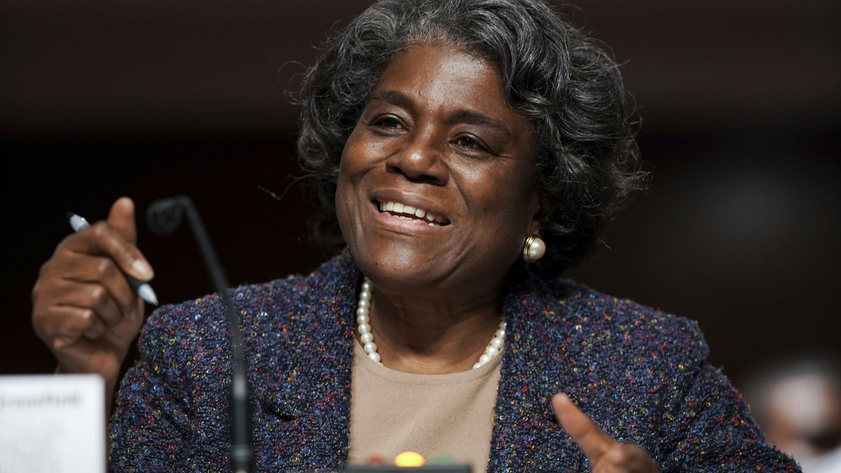 United States Ambassador to the United Nations nominee Linda Thomas-Greenfield testifies during...