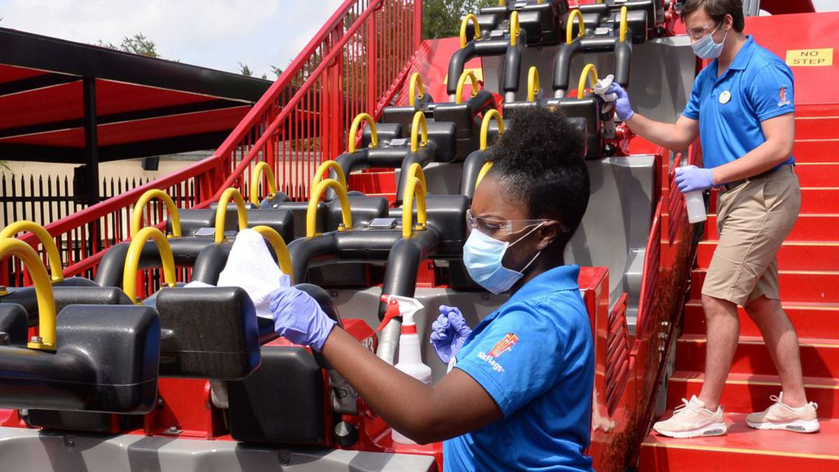 Six Flags clean teams will clean rides, restraints, and railings throughout the day. (Source: Business Wire)