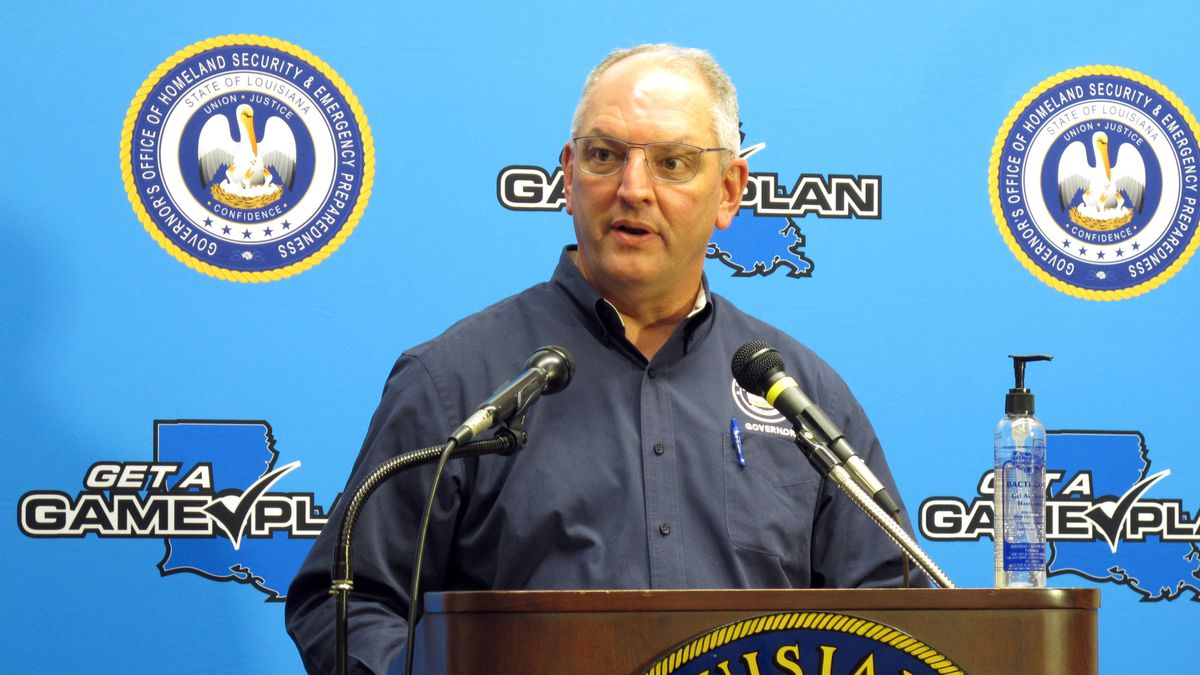 Louisiana Gov. John Bel Edwards talks about his state's response to Hurricane Laura and to the coronavirus pandemic during a news conference, Tuesday, Sept. 1, 2020, in Baton Rouge, La.