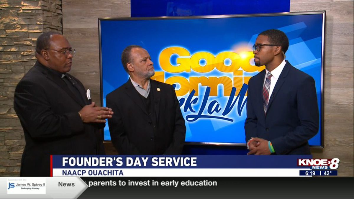 Ambrose Douzart and Robert Bradford from the NAACP of Ouachita joined with Tyler Smith discussing the organization's Founder's Day Service.<br />Source: (KNOE)