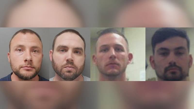 From left to right, Jacob Brown, 30, Randall Dickerson, 34, Dakota DeMoss, 28, and George...