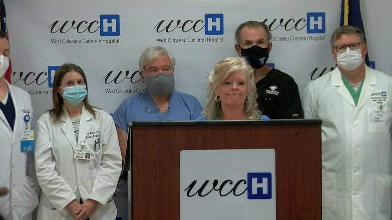 Officials at West Calcasieu Cameron Hospital were holding a news conference discussing the...