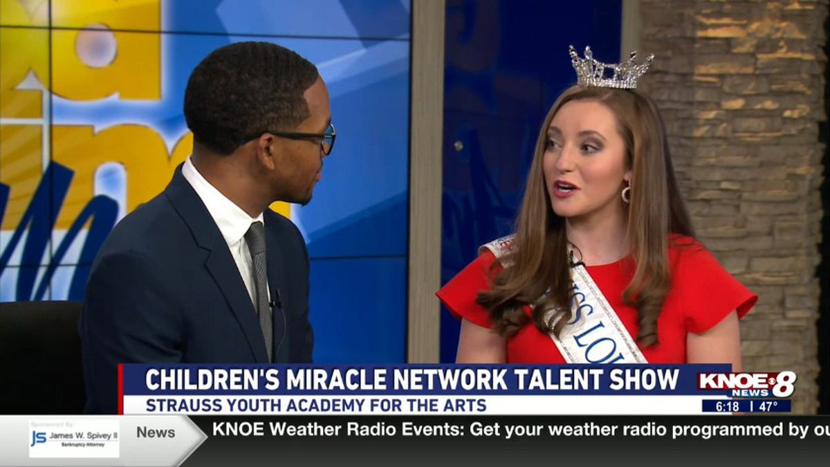 Chanley Patteson, Miss Louisiana Outstanding with Tyler Smith discussing the Children's Miracle Network Talent Show.  (Source: KNOE)