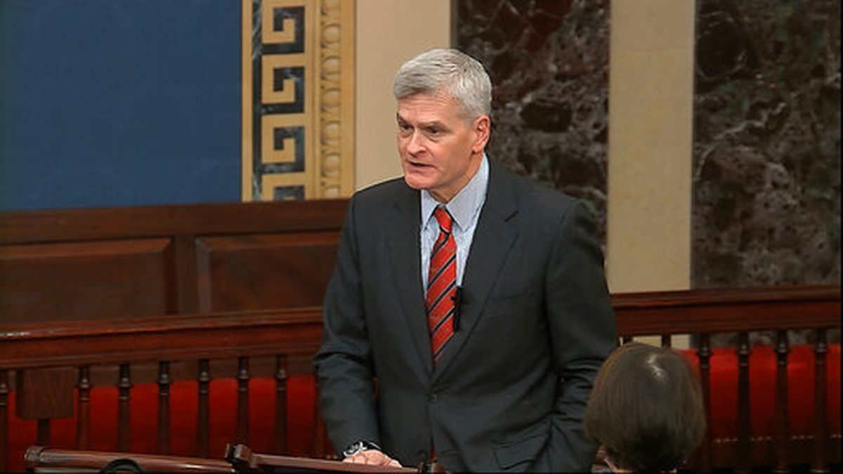 In this image from video, Sen. Bill Cassidy, R-La., speaks on the Senate floor about the impeachment trial against President Donald Trump at the U.S. Capitol in Washington, Tuesday, Feb. 4, 2020. (Senate Television via AP)