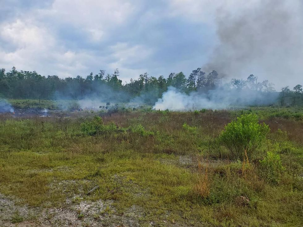 Two oil tanks burned in Beauregard Parish Tuesday afternoon. Lightning is believed to have...