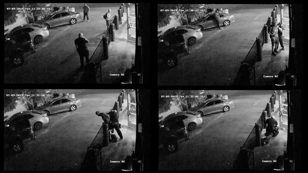 Surveillance footage of Julio Arevalo shows him grabbing his bike to leave a Palo Alto donut...