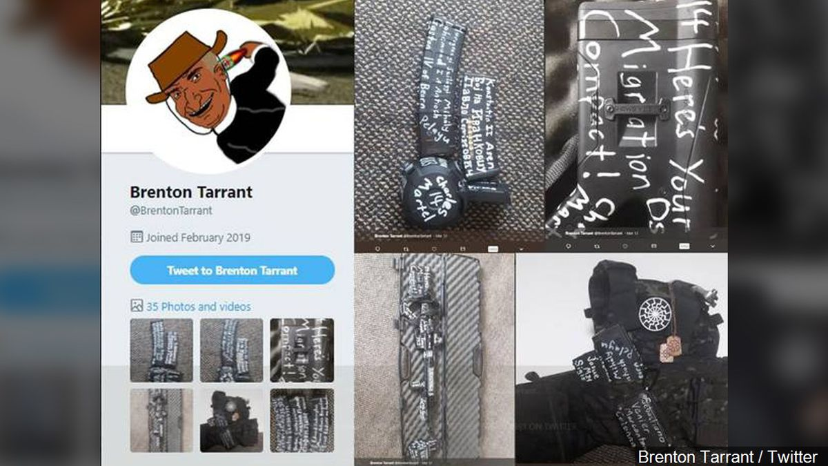 A Twitter account in the name of Brenton Tarrant shows firearms and ammunition with white...