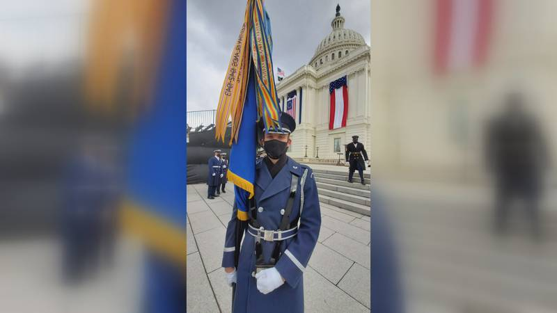 Senior Airman Salem Rhea of West Monroe presented the colors of the U.S. Air Force at the 59th...
