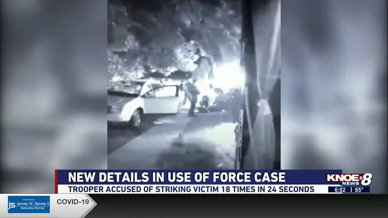 Trooper accused of striking victim 18 times in 24 seconds