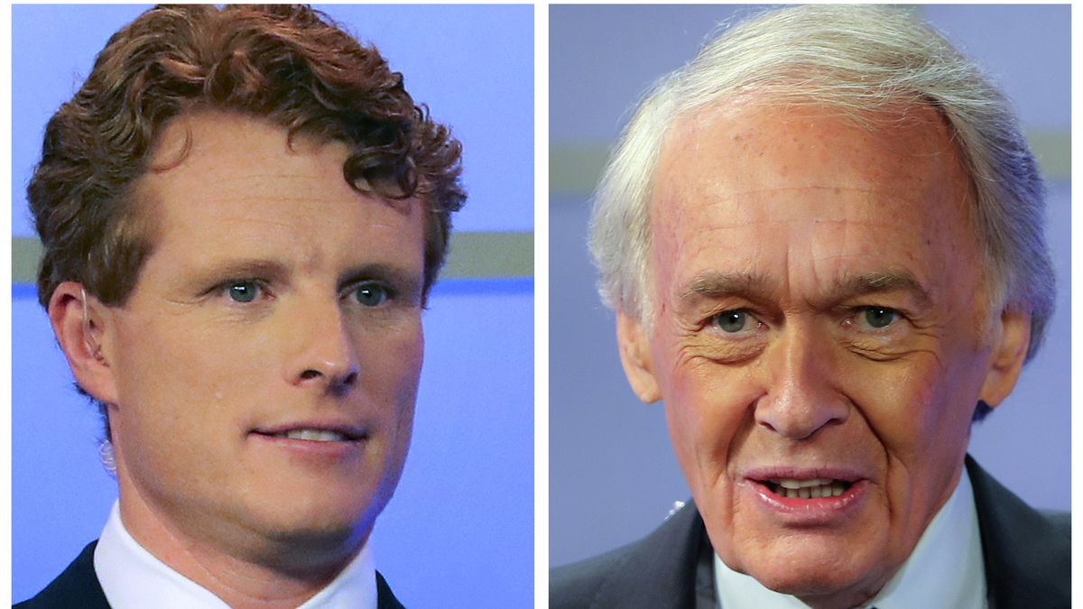 FILE - In this pair of June 1, 2020, file photos, Rep. Joe Kennedy III, left, and Sen. Edward...