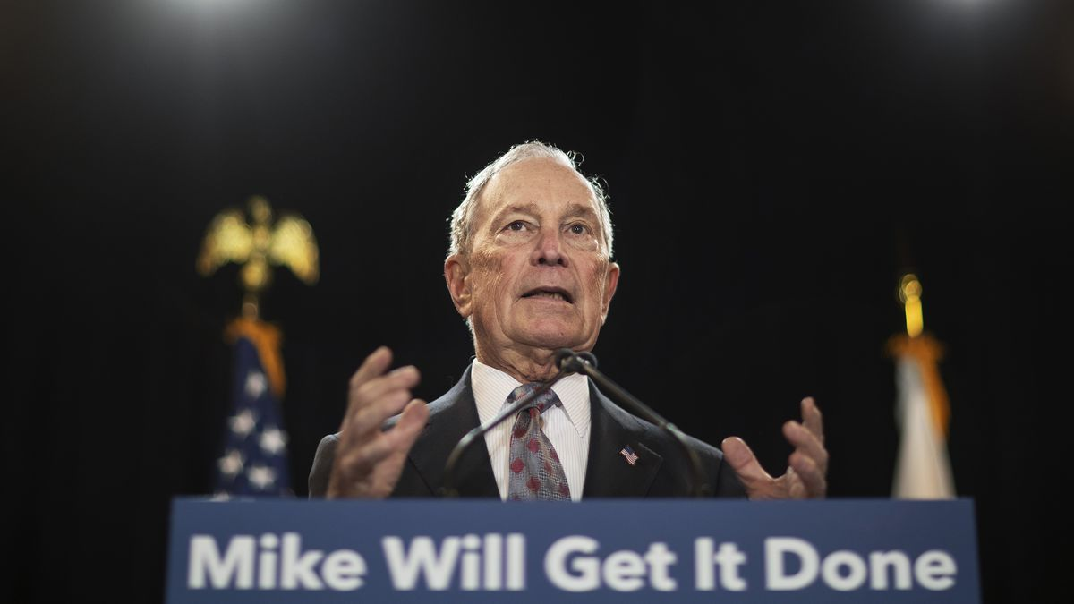 FILE - In this Feb. 5, 2020 file photo, then-Democratic presidential candidate and former New York City Mayor Michael Bloomberg speaks at a campaign event in Providence, R.I.