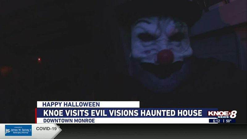 Sports Anchor Anna Jane Howell and Meteorologist Lucy Doll check out Evil Visions Haunted House.
