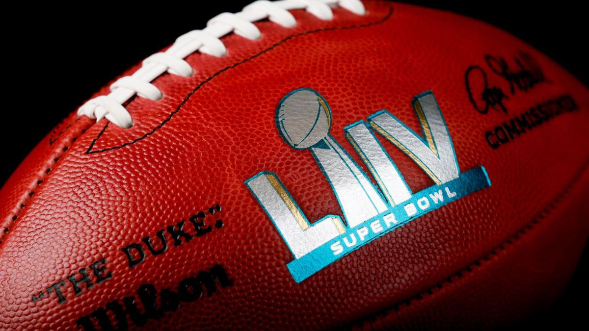 An official ball for the NFL Super Bowl LIV football game that was made at the Wilson Sporting Goods Co. in Ada, Ohio, Monday, Jan. 20, 2020. The Kansas City Chiefs played the San Francisco 49ers in the Super Bowl LIV on Feb. 2, in Miami. | Source: AP Photo / Ron Schwane