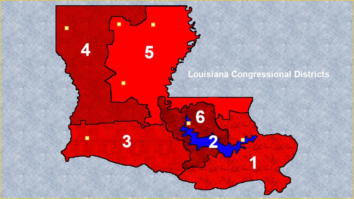 As of Jan. 2021, Louisiana has six congressional districts. The 2nd District, in blue,...