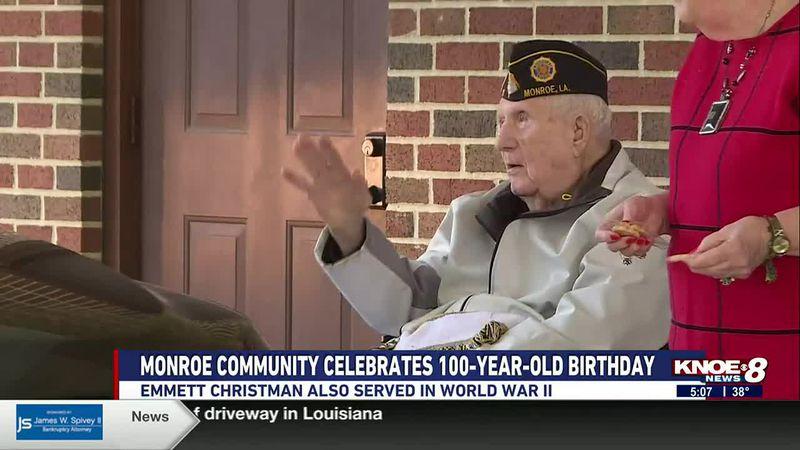 A Monroe community celebrated a World War II veteran's birthday on Saturday. Emmett Christman...