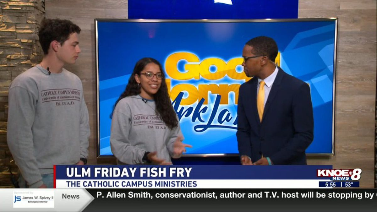 ULM students Gabby Papillon and Seth Guidry with Tyler Smith discussing the Catholic Campus Ministries fish fry dinners. (Source: KNOE)