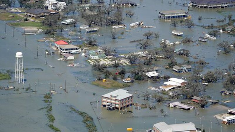 Buildings and homes are flooded in the aftermath of Hurricane Laura Thursday, Aug. 27, 2020,...