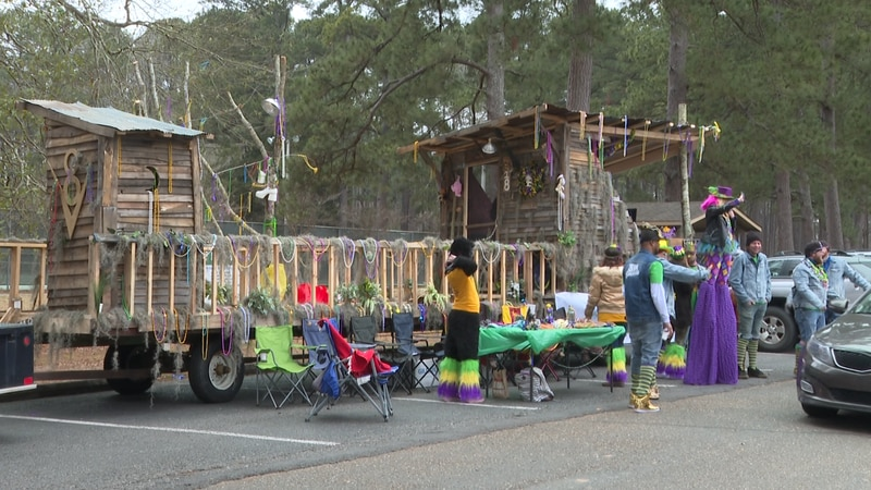 The parade floats were showcased around Kiroli Park in West Monroe for the community to see.