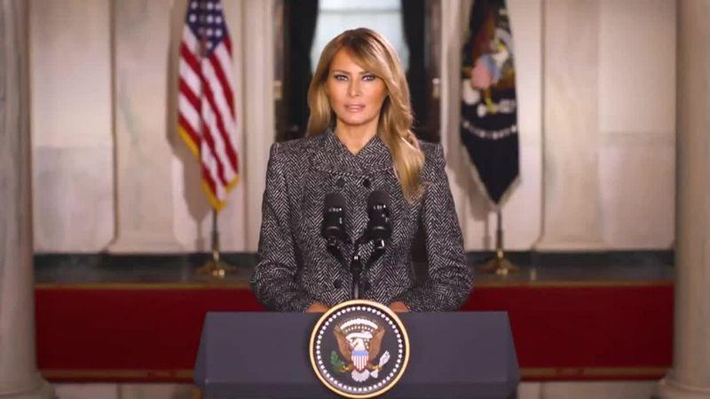 "Melania Trump's farewell message urges ""kindness."""