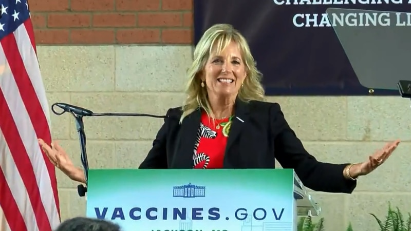 First Lady Jill Biden speaks at Jackson State University during a visit Tuesday.