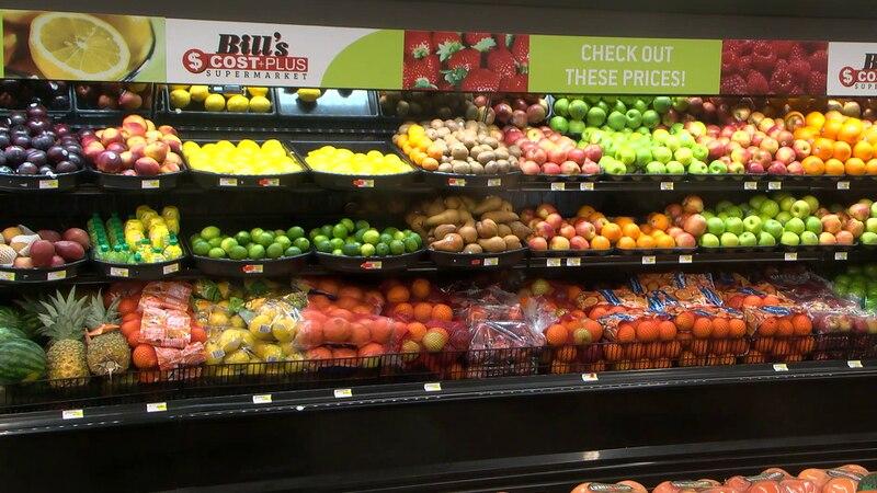 File: A produce aisle at a supermarket in Jonesboro, Arkansas.