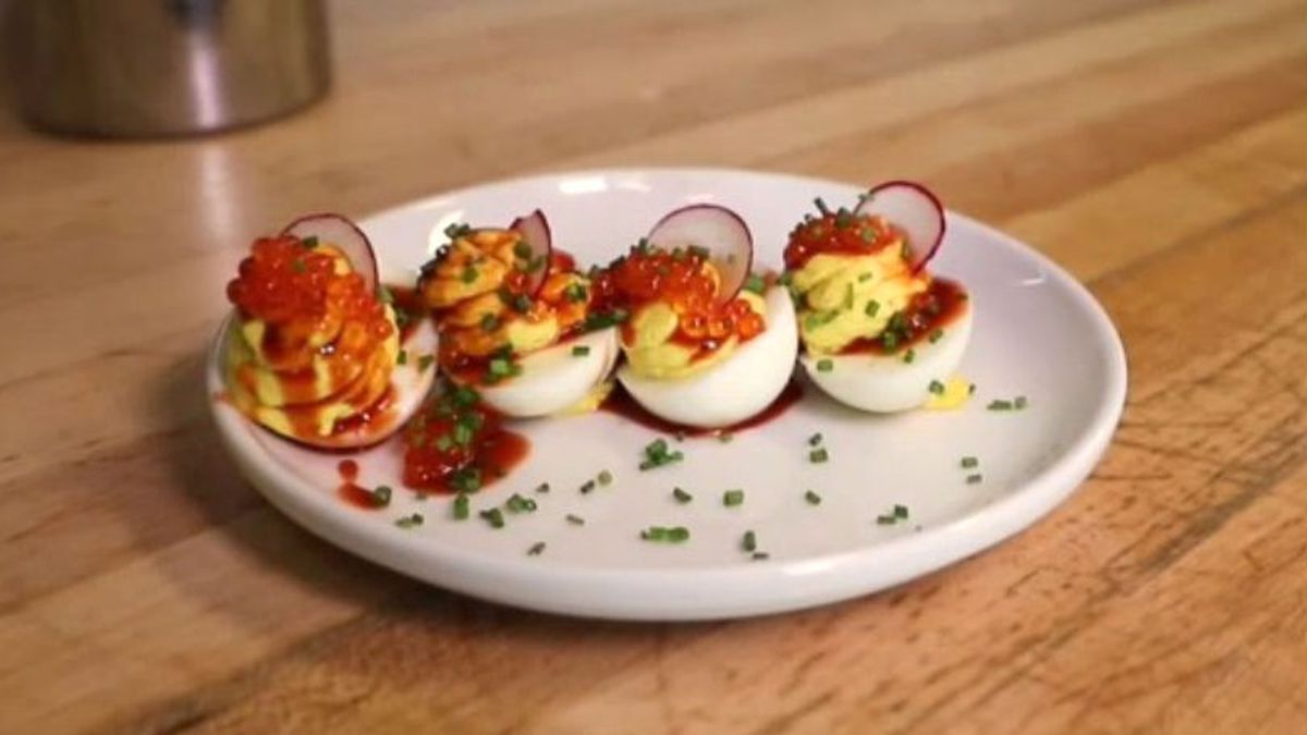 Deviled eggs with hot sauce and trout roe. (Source: KNOE)