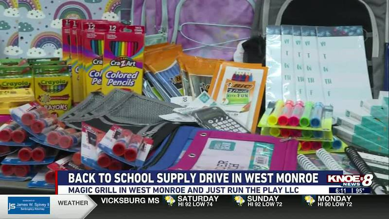 Magic Grill in West Monroe and Just Run the Play LLC are collecting school supplies and...