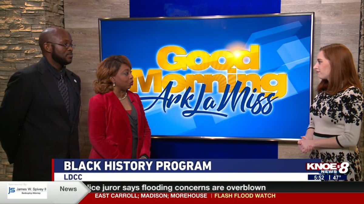Alvina Thomas and Molaki Wells joined with Jessica discussing LDCC Black History Month program. Source: (KNOE)