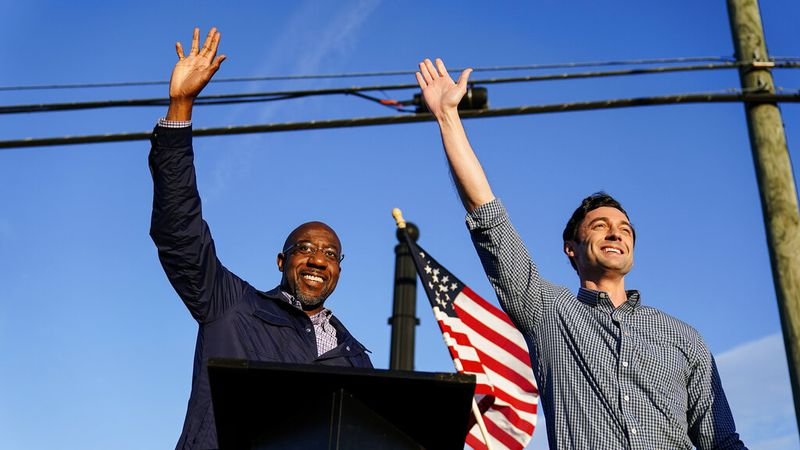 FILE - In this Nov. 15, 2020, file photo Georgia Democratic candidates for U.S. Senate Raphael...