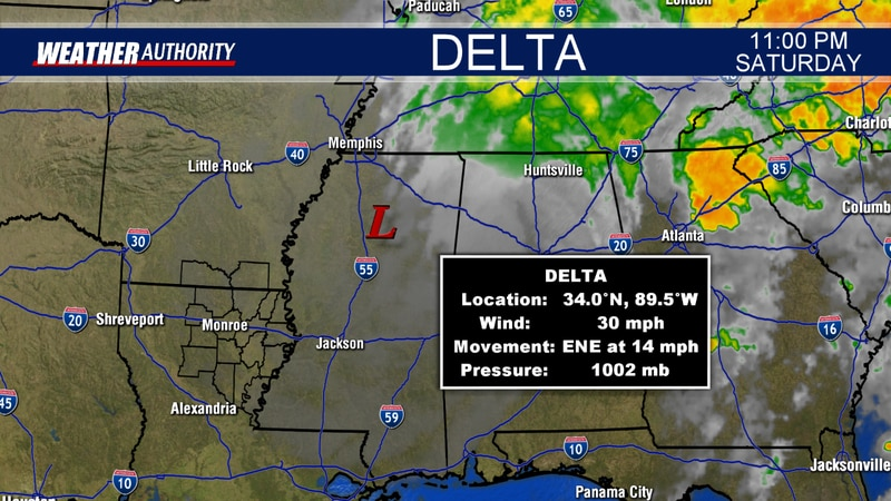 Remnants of Delta continue to move northeast