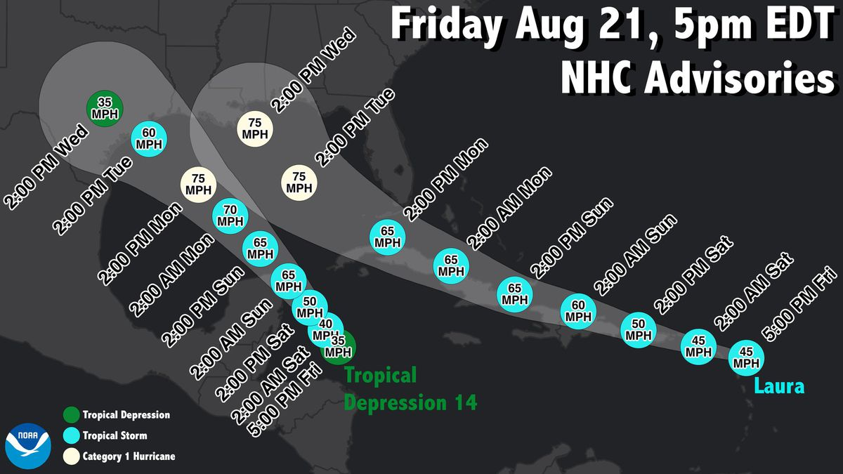 Advisories for #Laura and #TD14 as of 8/21/20.