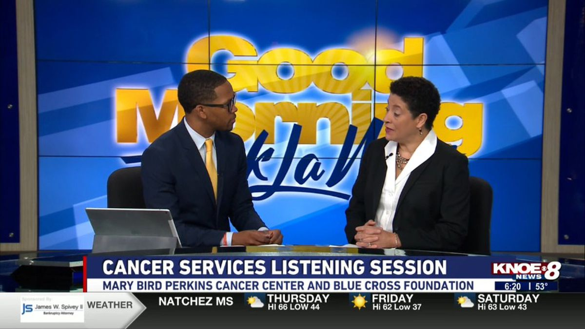 Renea Duffin, vice president of cancer support and outreach with Tyler Smith discussing the cancer services and listening sessions being offered in Northeast Louisana. (Source: KNOE)