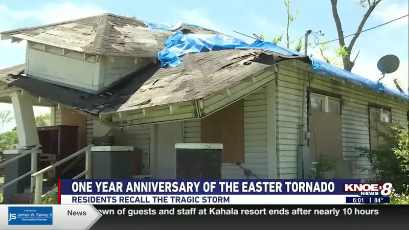 Residents reflect on the Easter tornadoes that hit Northeast Louisiana one year ago.