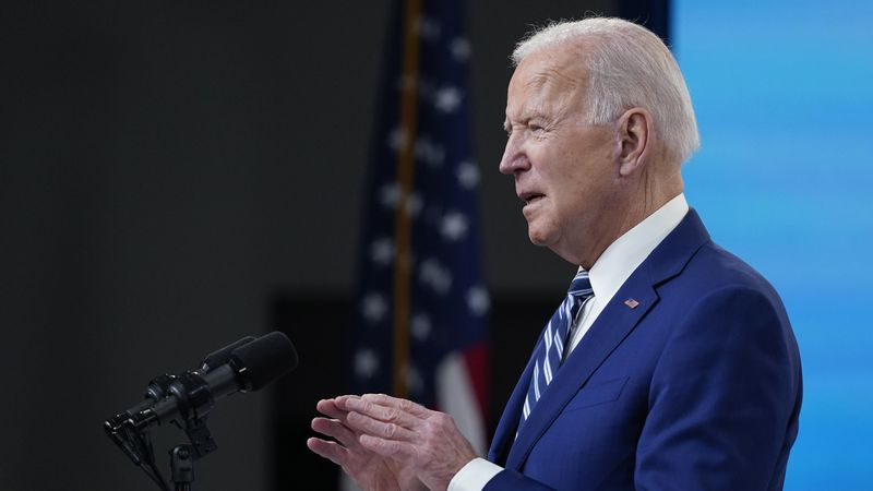 AP Photo: President Joe Biden speaks during an event on COVID-19 vaccinations and the response...