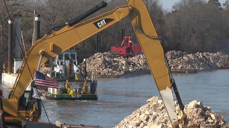 Crews are adding 100,000 tons of rocks into the Ouachita River.