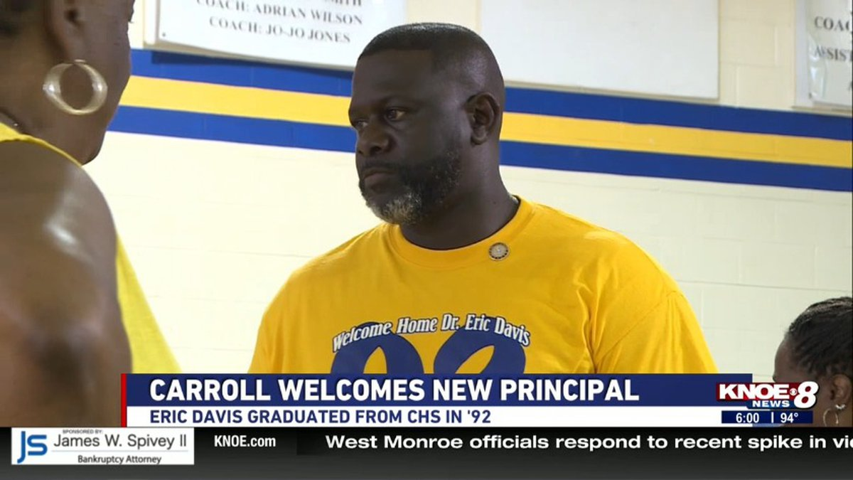 Dr. Eric Davis comes back to his alma mater as its newest principal. /Source: KNOE