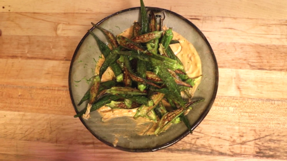Dry fried okra with spicy aioli and lime. / Source: KNOE