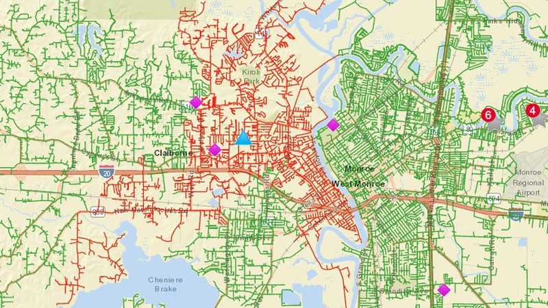 West Monroe power outages in red, as of 1:10 p.m. Power has since been restored.