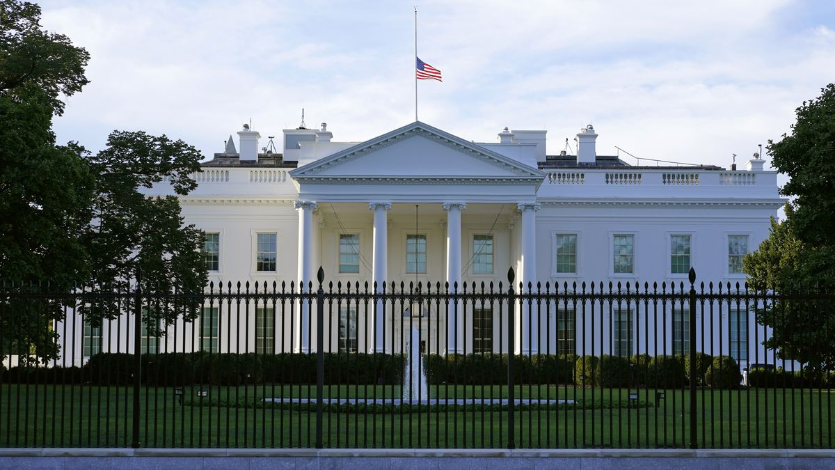 An American flag flies at half-staff over the White House in Washington, Saturday, Sept. 19, 2020.  Federal officials have intercepted an envelope addressed to the White House that contained the poison ricin. That's according to a law enforcement official who spoke to The Associated Press on Saturday.   (AP Photo/Patrick Semansky)