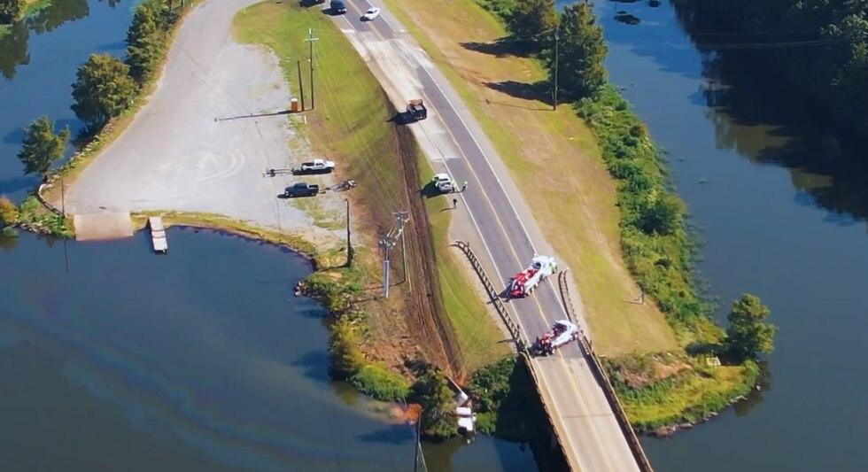 The bridge across Lake D'Arbonne was closed after a crash.