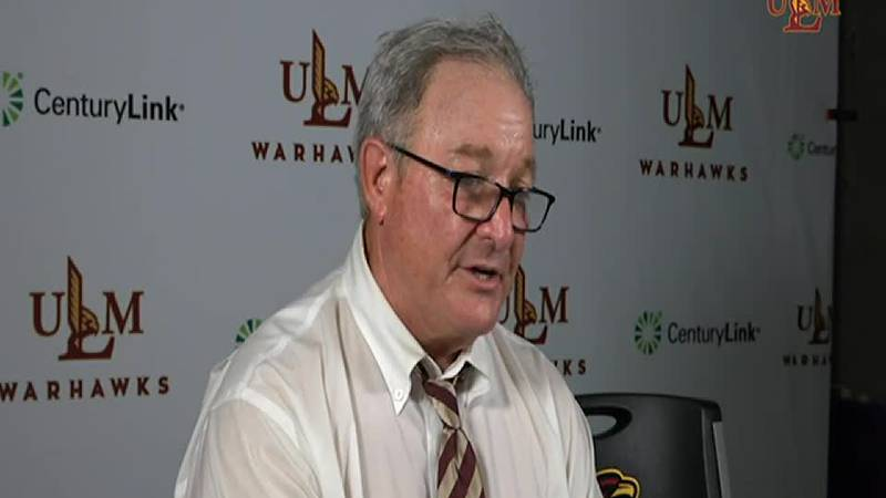 ULM Head Coach Terry Bowden speaks following the 12-7 win over Jackson State.