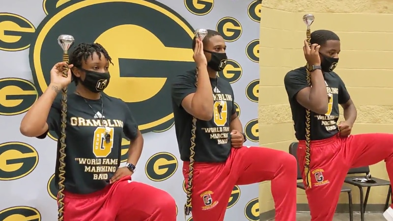 The three new drum majors for Grambling State University's World Famed Tiger Band , making...