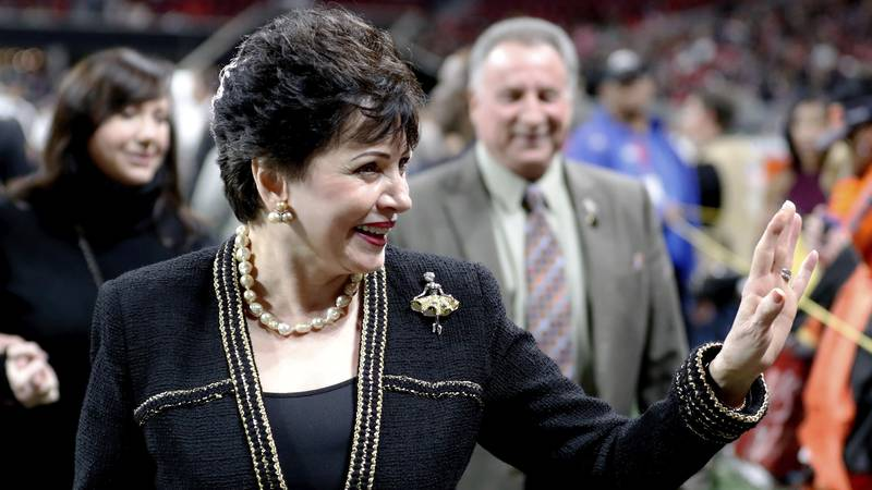 In this Thursday, Nov. 28, 2019 file photo, New Orleans Saints owner Gayle Benson waves to the...