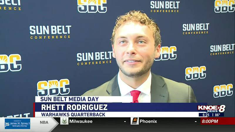 Head Coach Terry Bowden and Warhawk football players speak with the media at Sun Belt Media Day.