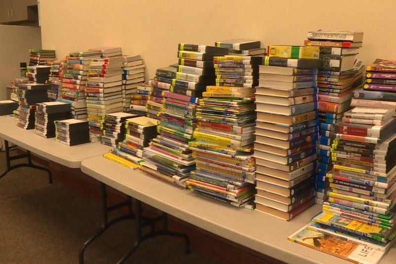 Books waiting to be checked in at Louise Williams Branch