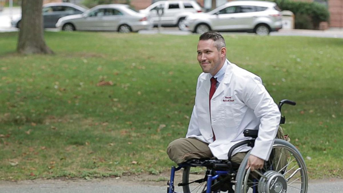 Greg Galeazzi is training to become a doctor at Harvard Medical School after a 2011 roadside bomb in Afghanistan tore off both his legs and much of his right arm.