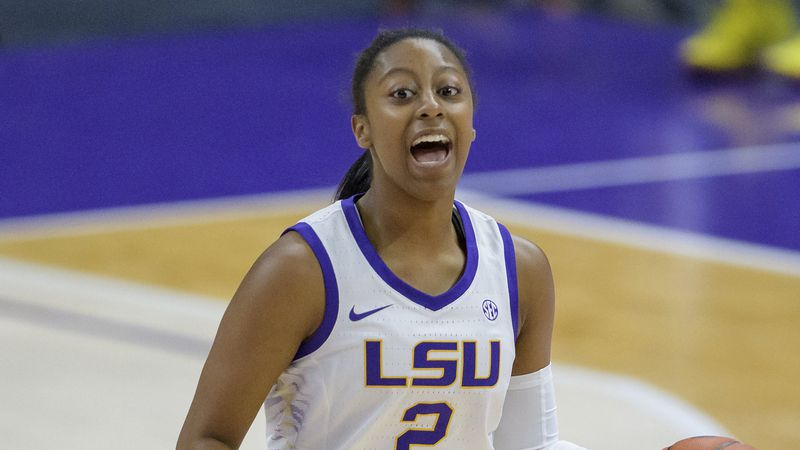 LSU guard Tiara Young (2) dribbles during an NCAA basketball game against UCF on Friday, Dec....