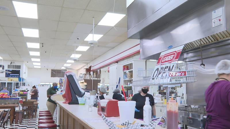 The counter at E.W. Thompson Drug Co. where you can grab some old fashioned favorites.