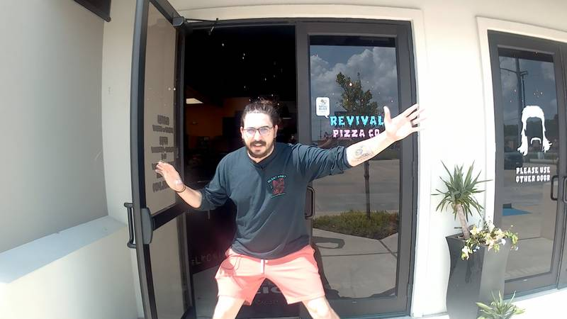 Revival Pizza Co. Owner Zack Howse Greeting you as you step into his pizza restaurant time...