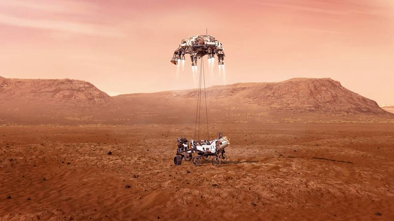 An illustration of NASA's Perseverance rover landing safely on Mars. Hundreds of critical...
